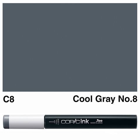 Picture of Copic Ink C8 - Cool Gray No.8 12ml