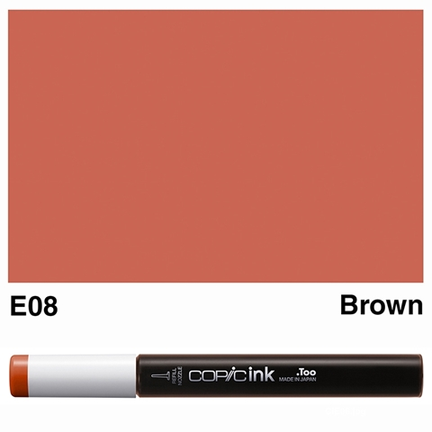 Picture of Copic Ink E08 - Brown 12ml