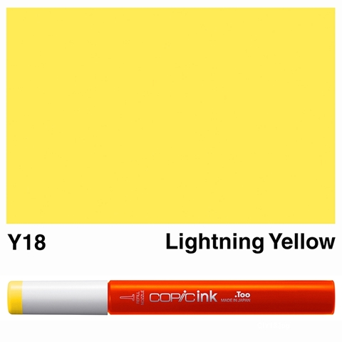 Picture of Copic Ink Y18 - Lightning Yellow 12ml