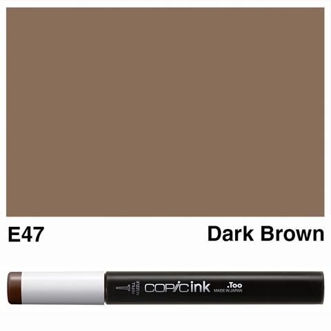 Picture of Copic Ink E47 - Dark Brown 12ml