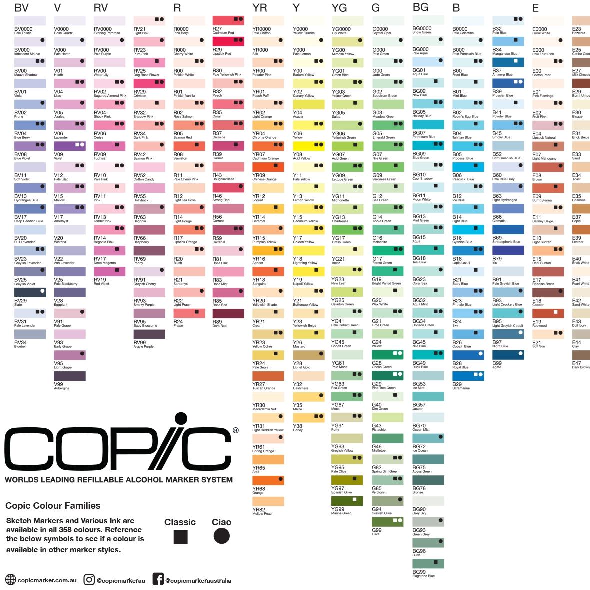 Copic Colour Chart 358 colours
